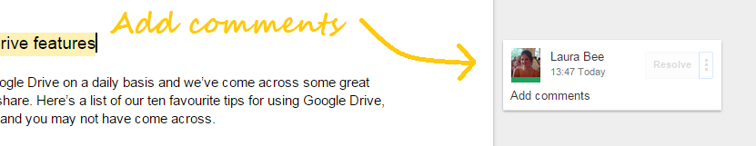 Google Drive add comments