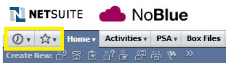 NetSuite history and favourites screenshot