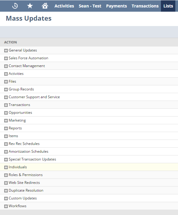 NetSuite tips - mass updates list