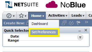 Set NetSuite preferences