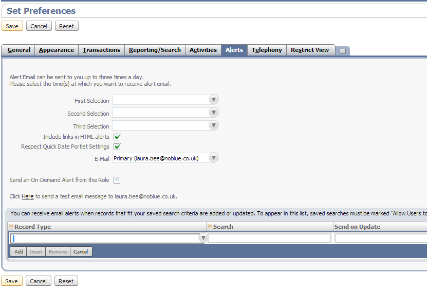 Setting up NetSuite alerts