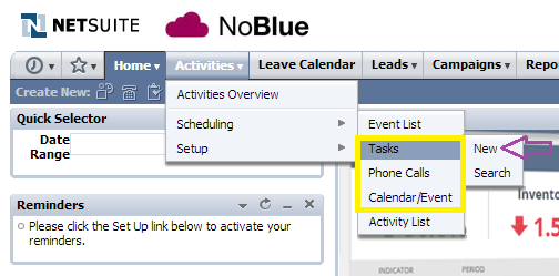 NetSuite tips - Setting up activity reminder