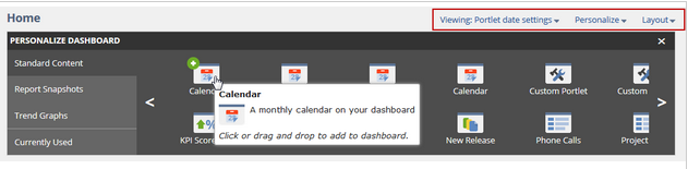 Personalise dashboard
