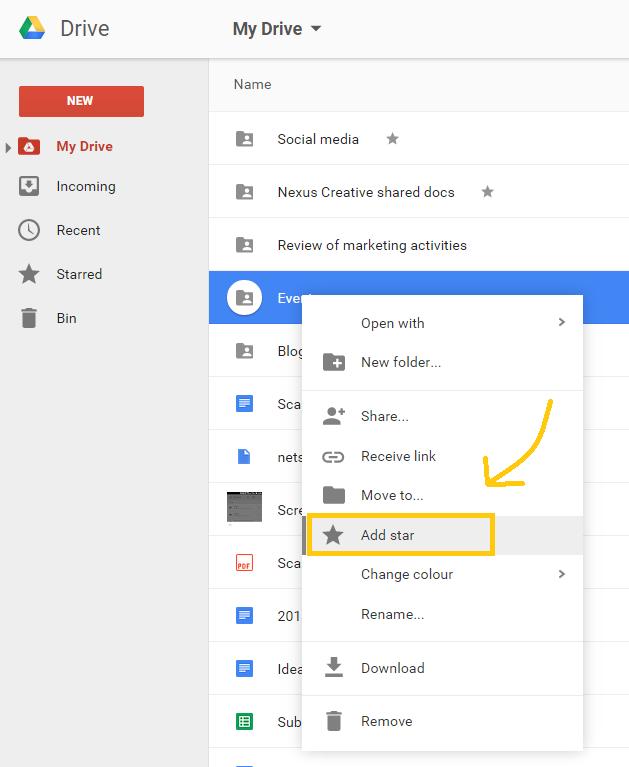 Google Drive add stars