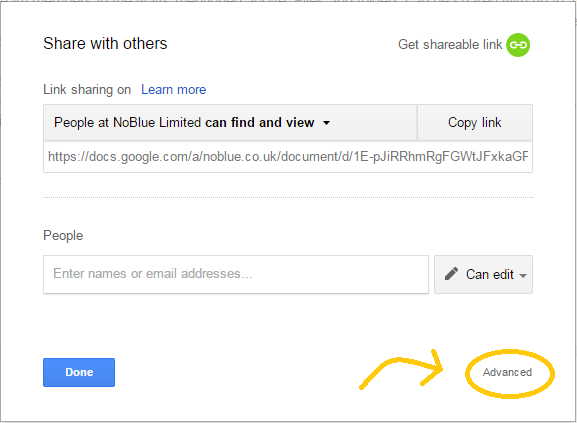 Google Drive advanced sharing