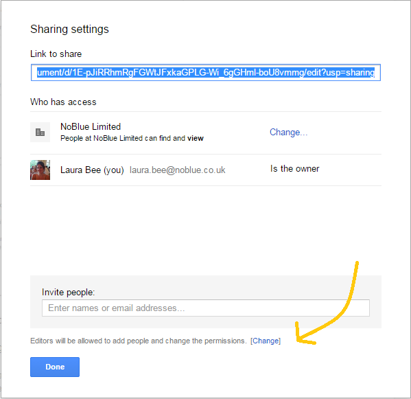 Google Drive changing permissions