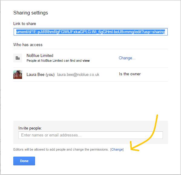 Google Drive changing permissions