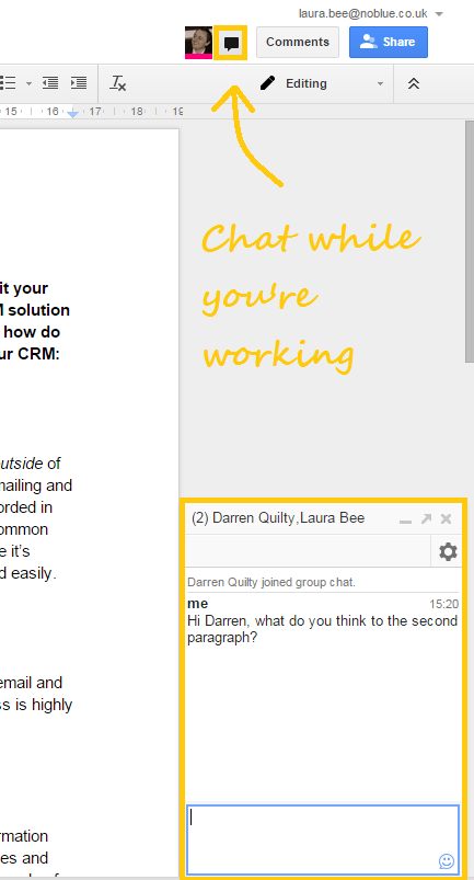 Google Drive chat while collaborating