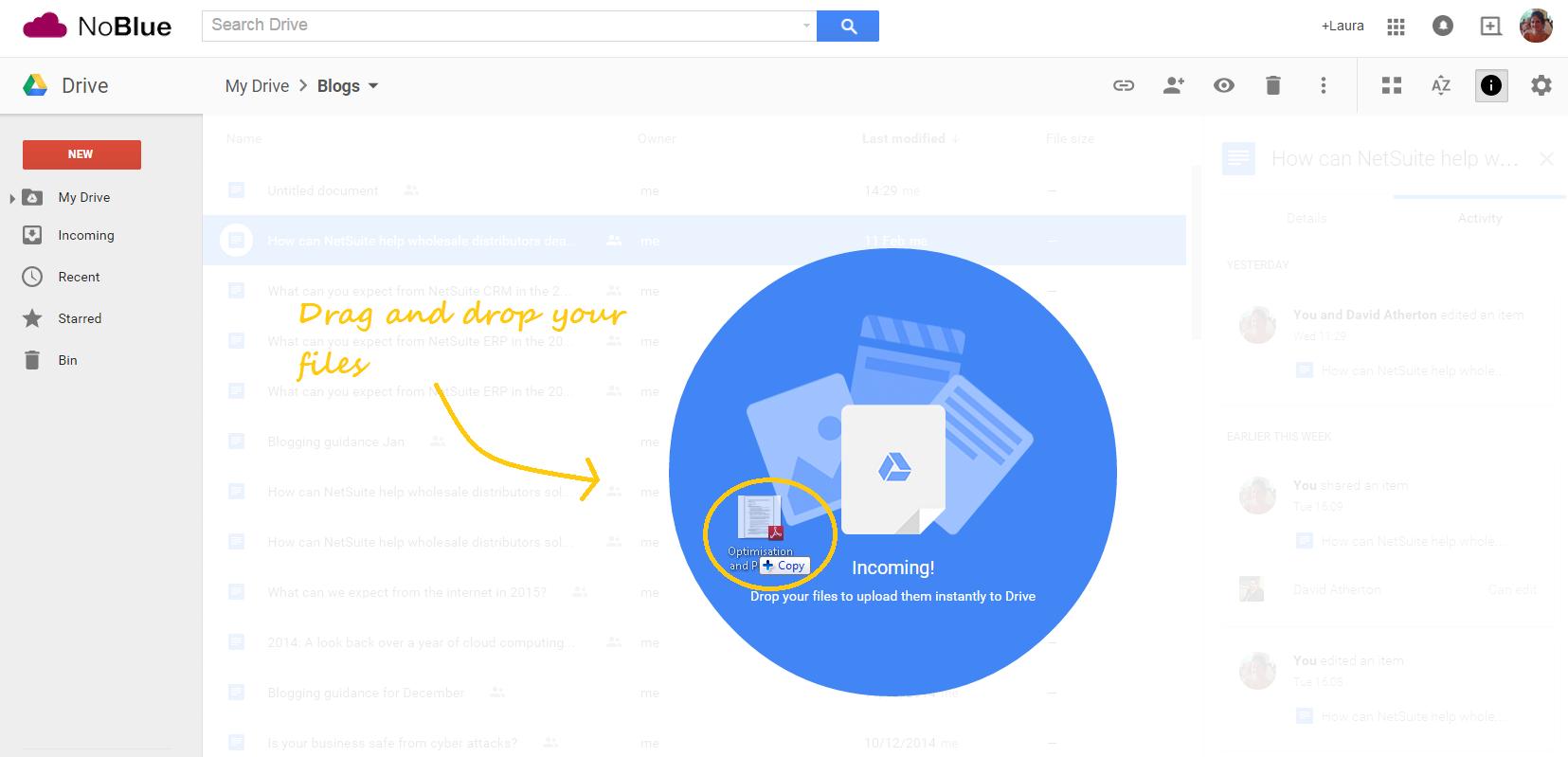 Google Drive drag and drop