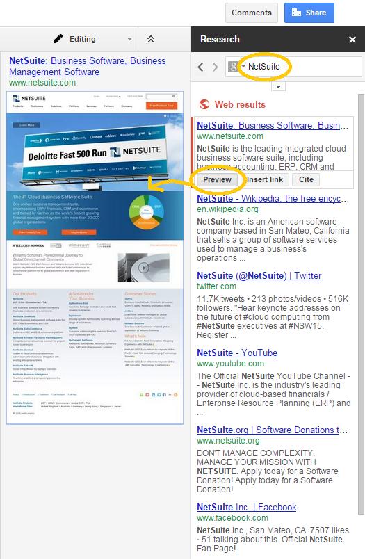 Google Drive research pane