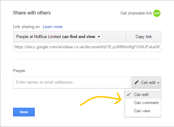 Google Drive sharing settings