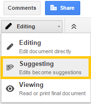 Google Drive suggesting mode