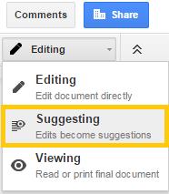 Google Drive suggesting mode