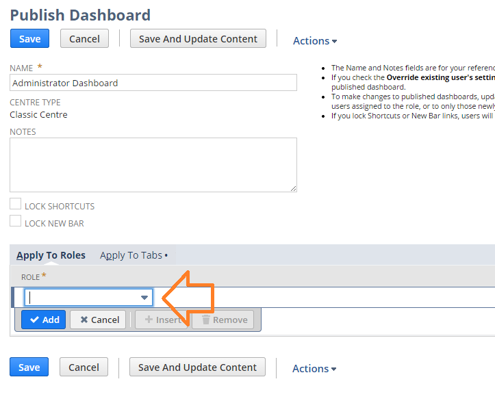 NetSuite tips - publish dashboard settings