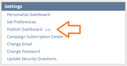 NetSuite tips - publish dashboard