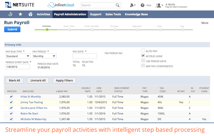 A screenshot of Infinet Cloud Payroll software.