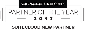 Badge which presents that SuiteCloud is a new partner of the year 2017