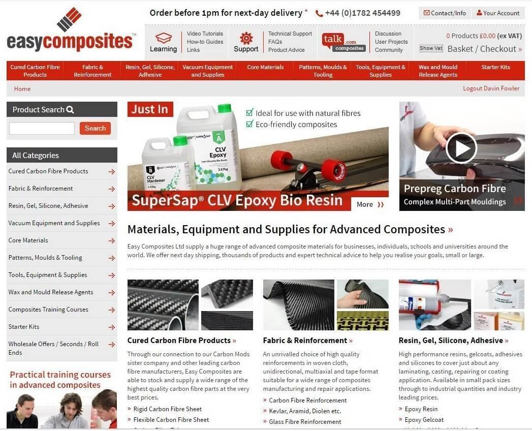 An image presenting the Easy Composites website.