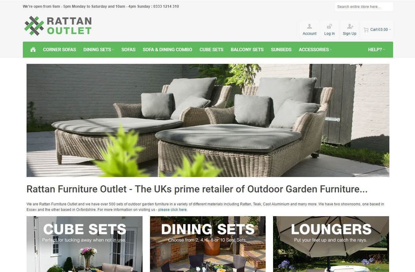 An image presenting the desktop version of Rattan Outlet website.