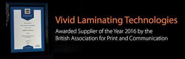 Banner shows that Vivid Laminating Technologies has been awarded supplier in 2016.