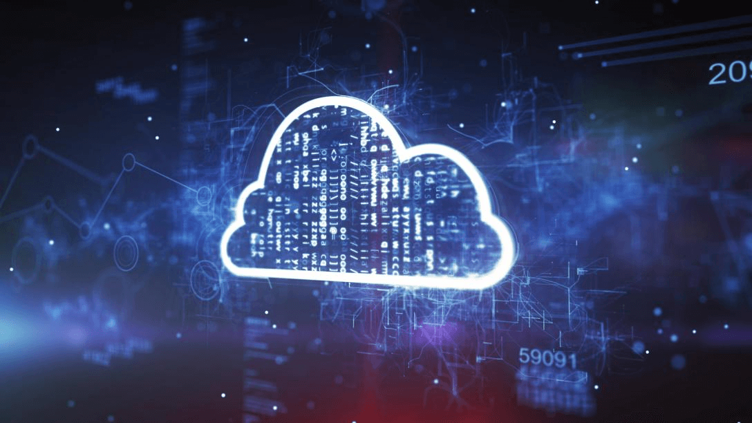 An image of the technology cloud presented on the blue background.