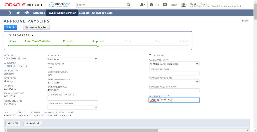 Infinet Cloud payroll for Netsuite webinar - payslips approval